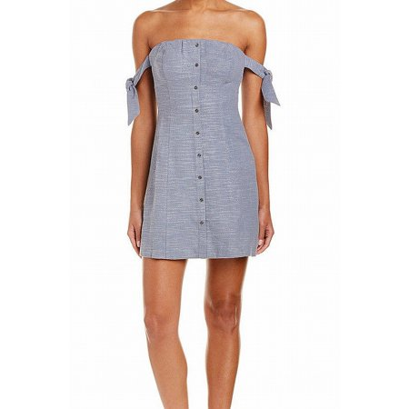 ASTR Womens Blue Button Front Short Sleeve Strapless Above The Knee Cocktail Dress  Size: L