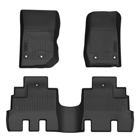 Jeep Wrangler Black Carpet - Floor Mats Liners Compatible for 2014-2019 Jeep Wrangler 4 Door JK Unlimited - Unique Black TPE All-Weather Guard,Includes 1st & 2nd Front Row and Rear Floor Liner Full Set