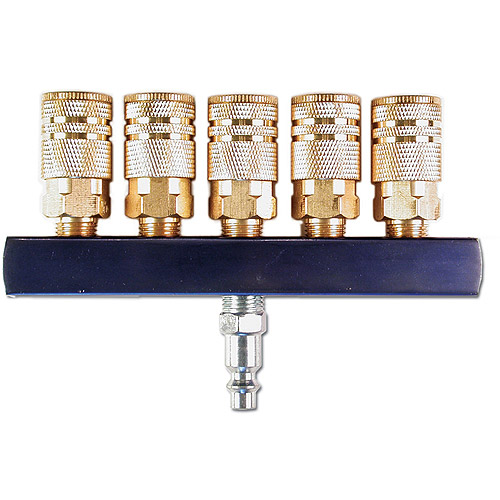 "Primefit M14025-7 5-Way Air Manifold with 5 .25"" Industrial 6-Ball Brass Couplers, .25"""