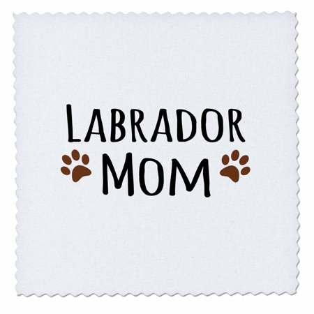 3dRose Labrador Dog Mom - Lab Doggie by breed - brown muddy paw prints - doggy lover pet owner mama love - Quilt Square, 10 by 10-inch Doggie Dog Quilt Bed