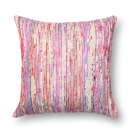 Alexander Home Textured Red/ Multi Stripe 22-inch Throw Pillow or Pillow Cover Feather
