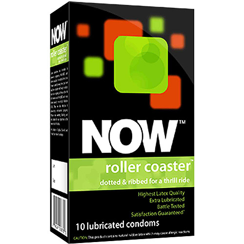 Now Roller Coaster Dotted & Ribbed Lubricated Condoms, 10 count