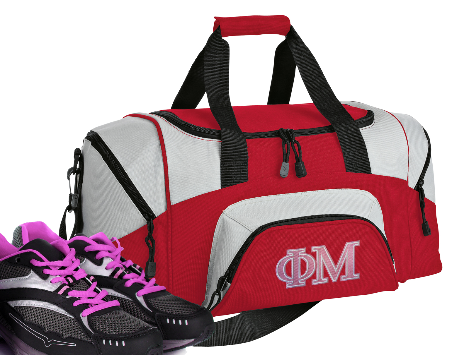 Small Phi Mu Duffle or Small Phi Mu Sorority Gym Bag by