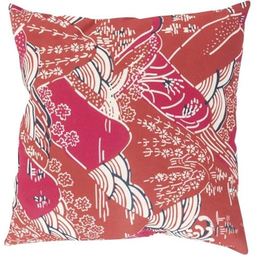 "Surya Mizu Poly Fill 20"" Square Pillow in Red and Pink"