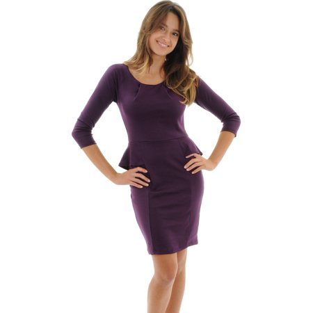 Womens Purple Dress Peplum ¾ Sleeves Front Pleating Plum Sexy Sizes: Large (Plumb Dress)