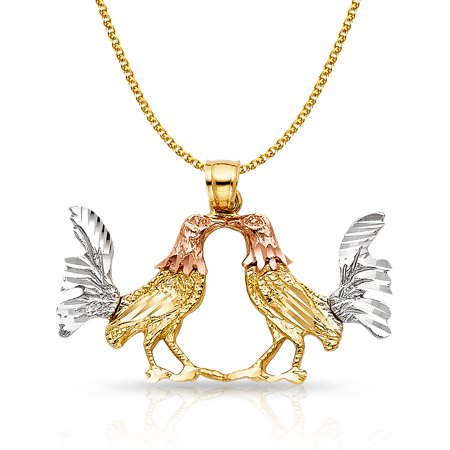 14K Tri Color Gold Rooster Charm Pendant with 1.7mm Flat Open Wheat Chain - Chains Rooster