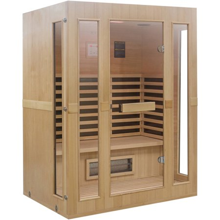 lifesmart 3 person full spectrum infrared sauna with mood. Black Bedroom Furniture Sets. Home Design Ideas