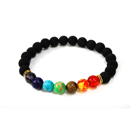7 Stone Chakra Lava Stone Stretch Bracelet - Healing Qualities - 7 Chakra