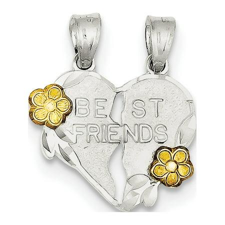 Leslies Fine Jewelry Designer 925 Sterling Silver Best Friends 2-piece break apart Heart (18x22mm) Pendant