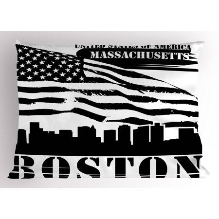 - Boston Pillow Sham Fluttering Grungy Design United States of America Flag Illustration with Text, Decorative Standard Size Printed Pillowcase, 26 X 20 Inches, Black and White, by Ambesonne