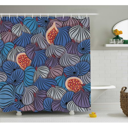 Kitchen Art Wall Decor Shower Curtain, Half Whole Fig Fruits Sweet Ripe Gourmet Vivid Mediterranean, Fabric Bathroom Set with Hooks, 69W X 84L Inches Extra Long, Blue Purple Grey, by Ambesonne
