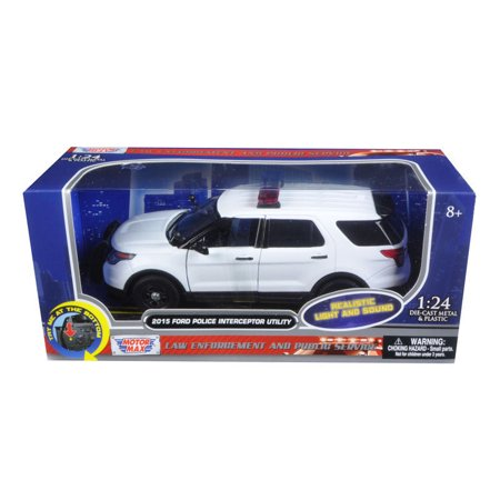 MOTOR MAX 1:24 W/B - 2015 FORD POLICE INTERCEPTOR UTILITY WITH LIGHTS AND SOUNDS DIECAST TOY CAR 79535