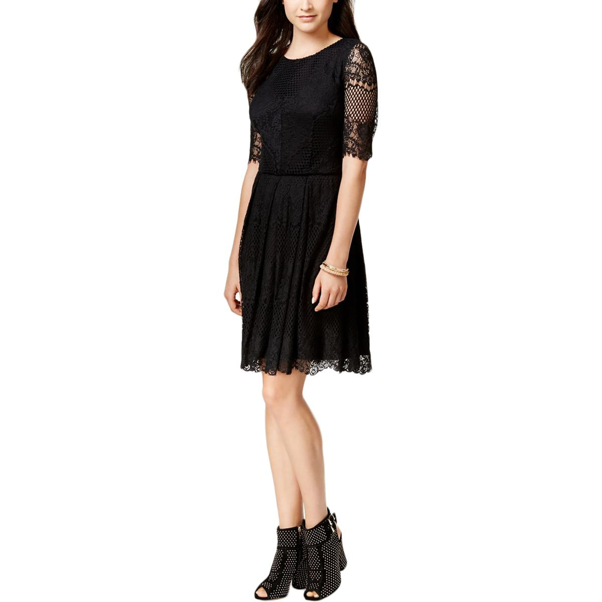 Jessica Simpson Womens Pleated Lace Cocktail Dress
