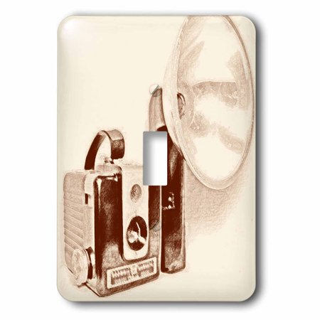 3dRose Picture of a Vintage brown 1950s camera with bulb flash, 2 Plug Outlet Cover