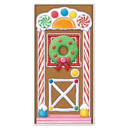 Club Pack of 12 Winter Wonderland Themed Gingerbread House Door Cover Party Decorations - Winter Door Decorations