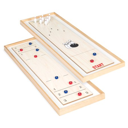 Best Choice Products 2-in-1 2-Player 45in Multifunctional Taletop Shuffleboard and Mini Bowling Board Game Set for Family Fun, Party, Game Night w/ 8 Rollers, 12 Bowling Pins ()