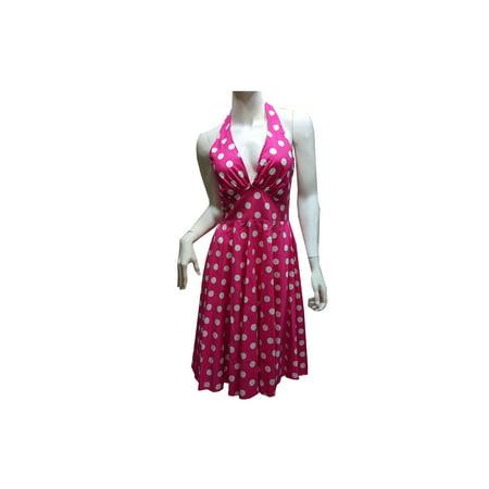 Women's Petite Marilyn Monroe Big Polka Dots Halter Dress w/ Padding, Pink (L) W70