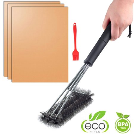 """Image of """"Copper Barbecue Grill Mats Set of 3 Non-Stick + 18"""""""" BBQ Grill Brush Scraper Stainless Steel Bristle Free - Easy Clean & Easy Use on Gas/Charcoal/Electric Grill"""""""