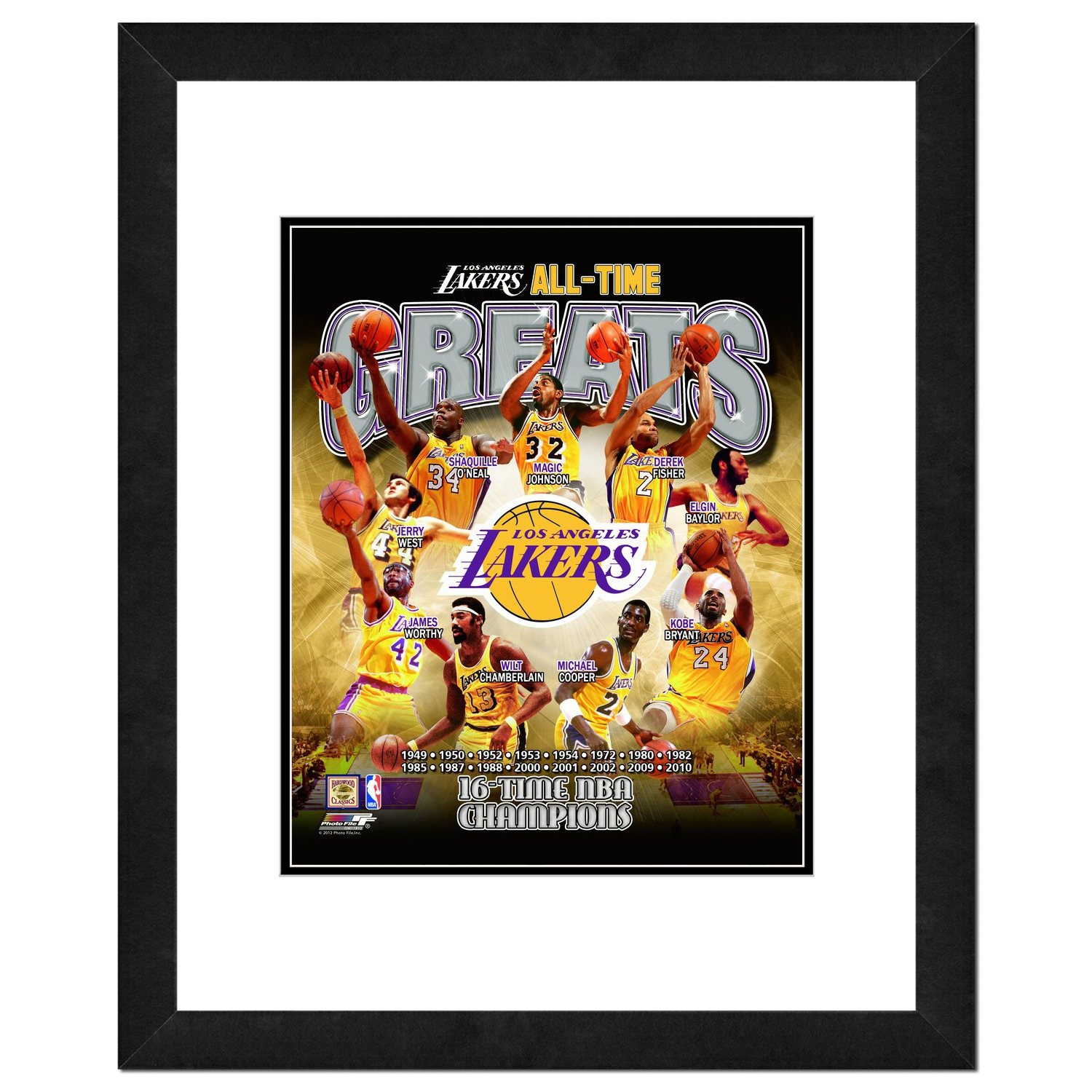 """Los Angeles Lakers - All Time Greats 18"""" x 22"""" Framed Photo or 16"""" x 13"""" Framed Photo Finished Size (NBA ATG by Photo File)"""