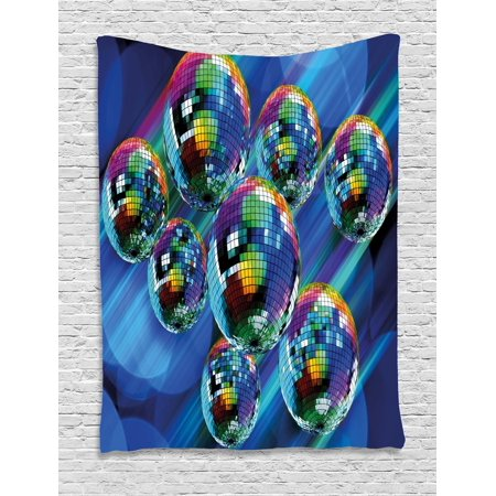 70s Party Tapestry, Colorful and Funky Vibrant Disco Balls in Abstract Night Club Dancing Theme Art, Wall Hanging for Bedroom Living Room Dorm Decor, Multicolor, by - Disco Themes