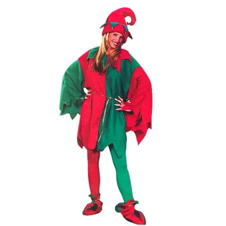 Red and Green Elf Tunic Unisex Christmas Costume with Jingle Bells - One Size Fits Most