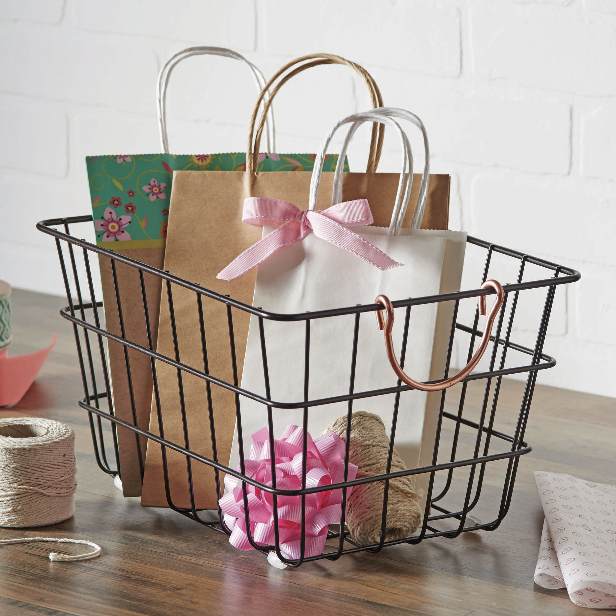 Better Homes & Gardens Medium Wire Basket with Copper Handles