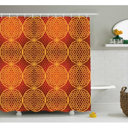 Victorian Shower Curtain Vintage Style Flower With Medieval Tones Rococo Baroque Esoteric Motif Fabric Bathroom Set With Hooks Mustard Orange By