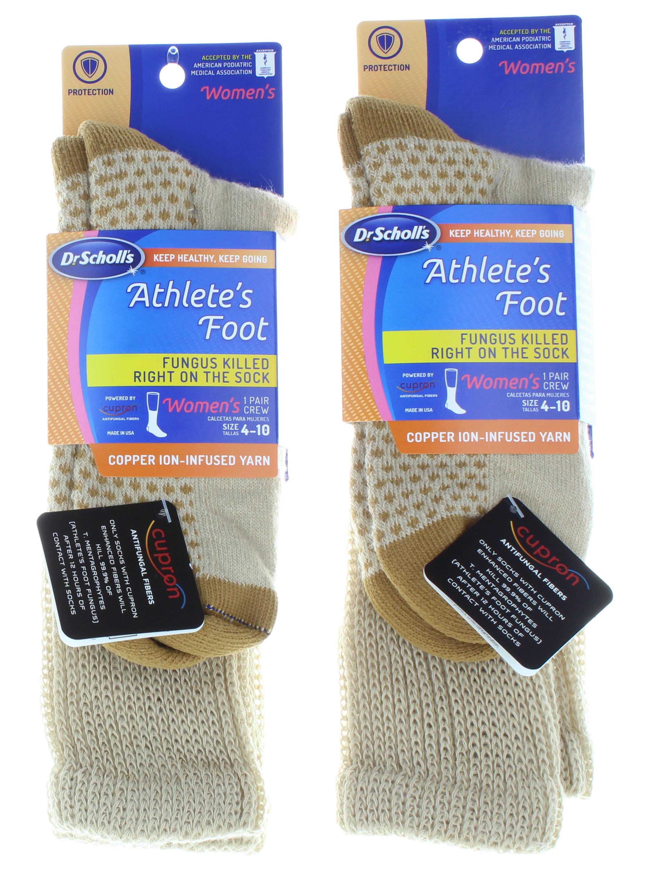 2 Pairs Copper Ion Dr. Scholl's Athlete's Foot Khaki Women's Crew Socks 4-10