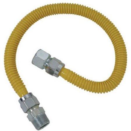 1/2 In. FIP x 1/2 In. MIP x 60 In. ProCoat Gas Appliance Connector 5/8 In. OD (93,200 BTU), Manufactured in China By BrassCraft Mfg Gas Pipe Btu