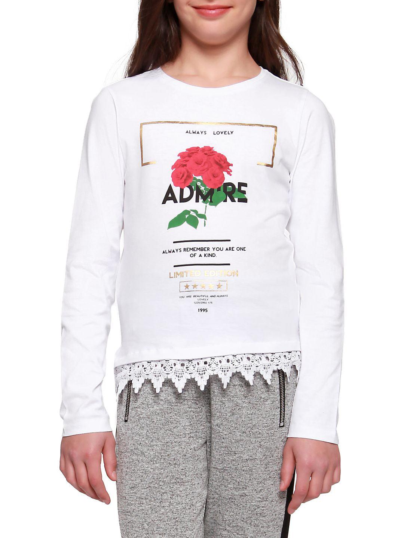 Girl's Rose-Graphic Crochet-Hem Top