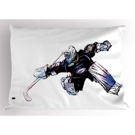 Hockey Pillow Sham Goalkeeper in Hand Drawn Style with Protective Gear in a Competitive Game, Decorative Standard Queen Size Printed Pillowcase, 30 X 20 Inches, Purple Black White, by Ambesonne (Goalie Gear)