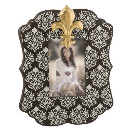 Cypress Home Golden Fleur de Lis 4x6 Wooden Picture (Cypress Frames)