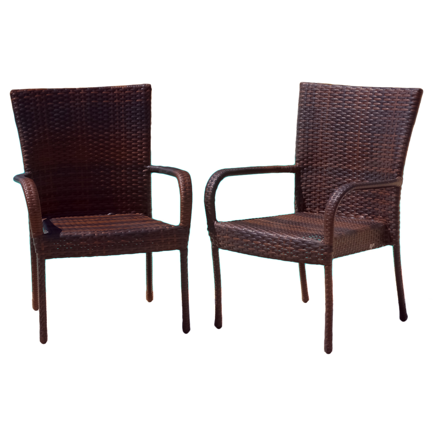 Noble House Brown Outdoor Wicker Stackable Arm Club Chairs (Set of 4)