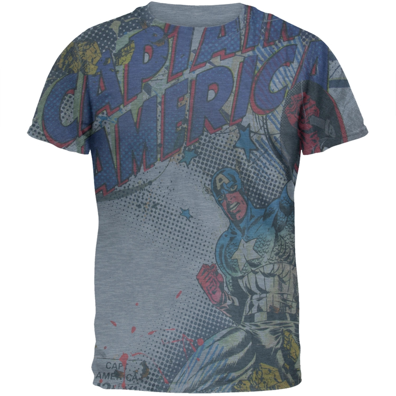 Captain America - Raised Shield All-Over Soft T-Shirt