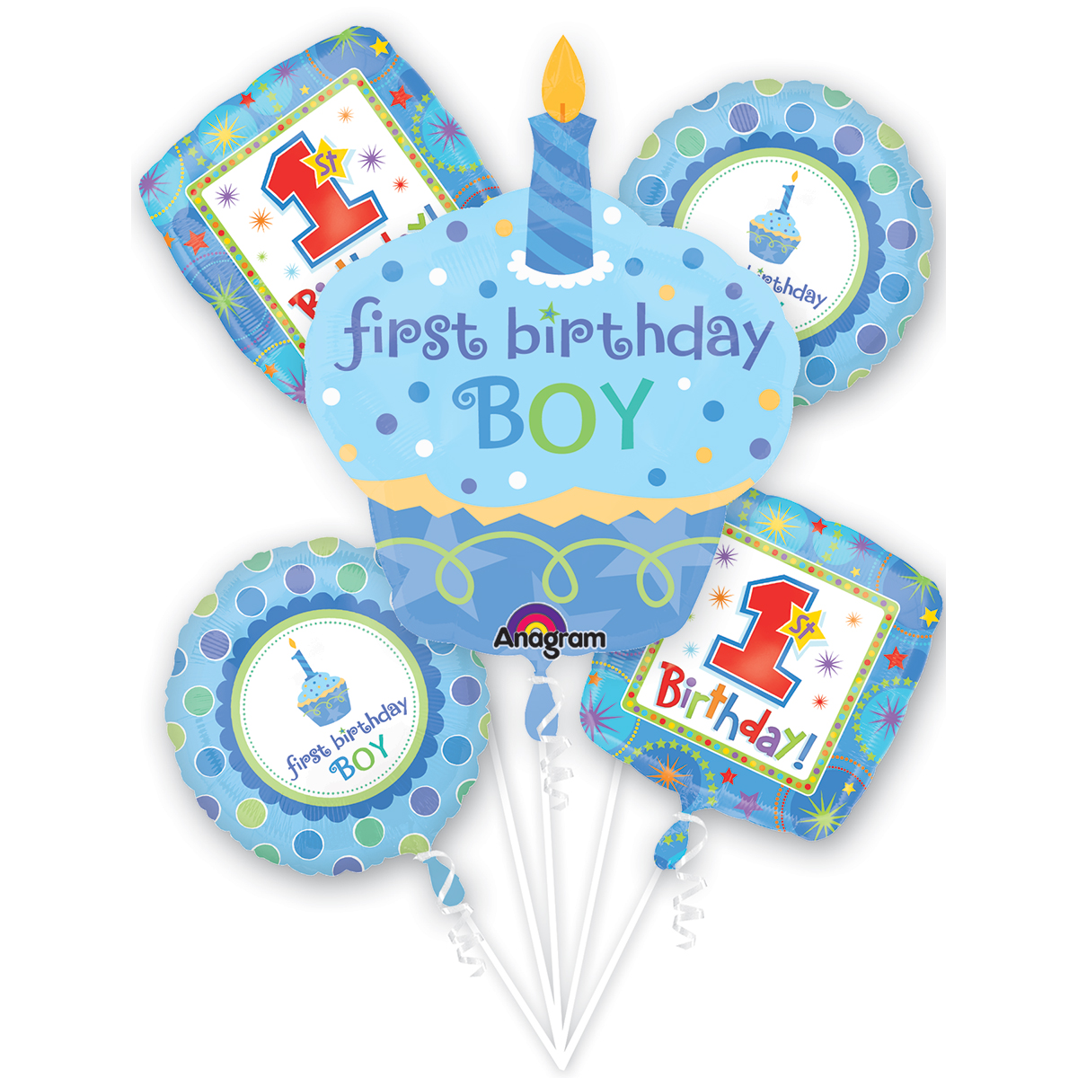 Anagram Boys First Birthday Cupcake Bouquet 5pc Balloon Pack, Baby Blue