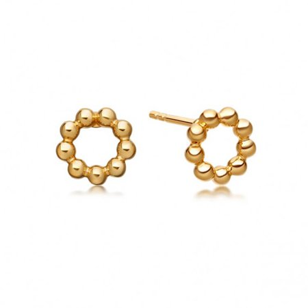 Lowest Price Ever!!! Fashionvare Women's 925 Sterling Silver Beaded Stud Earrings - Gold