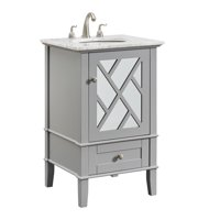 "Elegant Lighting VF30221GR Grey Kinney 21"" Mirrored Door Vanity Set"