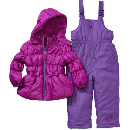 6c8c214af969 Baby Toddler Girl Hooded Jacket and Bib Ski Snowboard 2-Piece Snowsuit