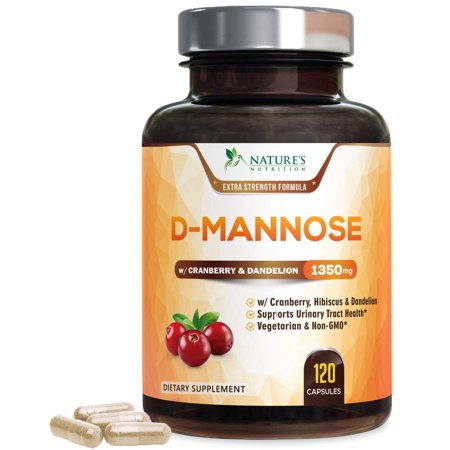 Nature's Nutrition D-Mannose Capsules with Cranberry for UTI, Bladder, & Urinary Tract Health, 1400mg, 120