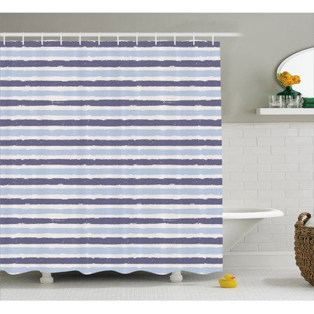 Harbour Stripe Shower Curtain Abstract Soft Toned Sketchy Horizontal Stripes Artistic Pattern Fabric Bathroom