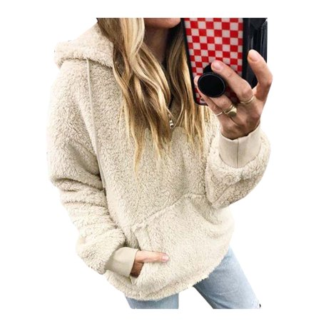 Women's Plus Size Fleece Tops Hooded Pullover Zipper Long Sleeve Sweatshirts Zipper Long Sleeve Sweatshirts
