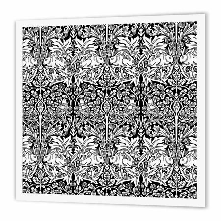 3dRose William Morris Brer Rabbit Chintz Pattern in Black and White, Iron On Heat Transfer, 10 by 10-inch, For White Material (Black Chintz)