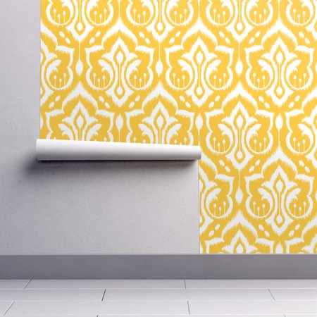 Happy Halloween Wallpaper Hd (Peel-and-Stick Removable Wallpaper Damask Yellow Modern Happy Gold)