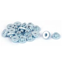 M3 Thread 6mm High Carbon Steel Round Knurled Head Thumb Nuts Silver Blue 20pcs