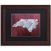 Trademark Fine Art 'North Carolina License Plate Map' Canvas Art by Design Turnpike, Black Matte, Wood Frame
