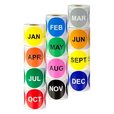 Round January to December Stickers (2 inch, 300 Stickers per Roll, Assorted Colors, 12 Rolls) for Inventory or Shipping - January Craft Ideas
