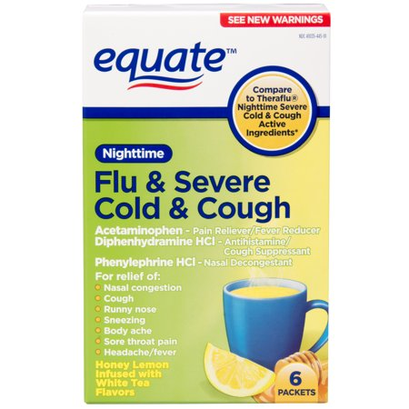 Equate Flu   Severe Cold   Cough Nighttime Pain Reliever Fever Reducer  6 Ct
