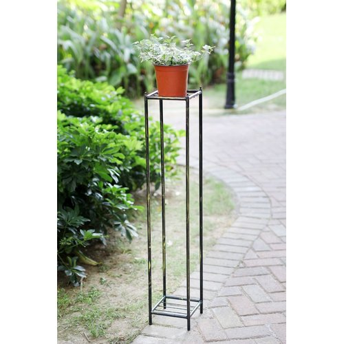 "40""H GRAY STONE SLAB 2 TIER LARGE SQUARE CAST-IRON PLANT STAND"