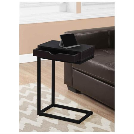 Monarch Accent Table Cappuccino / Black Metal With A Drawer ()