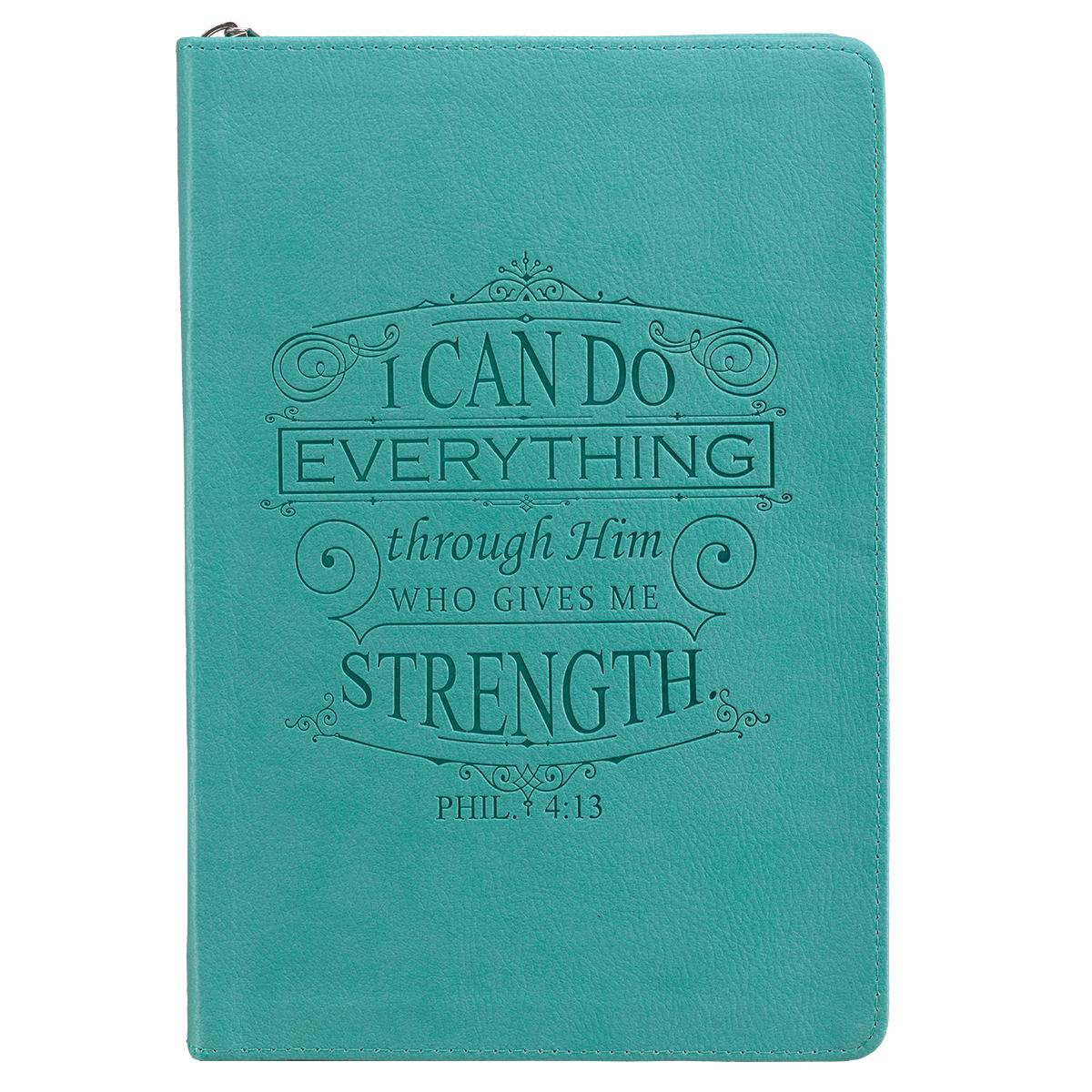 I Can Do Everything: Teal Lux-Leather Journal with Zipper (Hardcover)